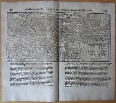 MÜNSTER/MUNSTER: Cosmographia Large View Zürich Zurich Switzerland  - 1628