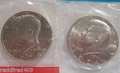 1974 P & D 2 Coin Set  Kennedy Half Dollar Uncirculated  In US Mint Cello