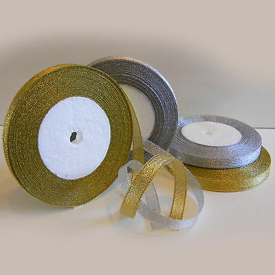 NEW ! Organza Ribbon Sparkle-Glitter Effect- Gold or Silver - 6mm,10mm,15mm **