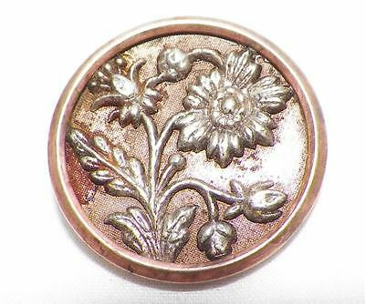 6 Daisy Picture Buttons Victorian Antique Stamped & Tinted Brass Light Rust Spot