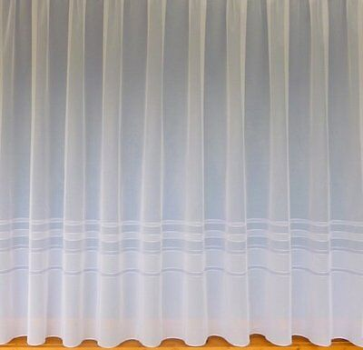 Curtains & Blinds Net Curtains-Leaf Pattern-Ellie Style 3988-White-All Drops Curtains & Pelmets