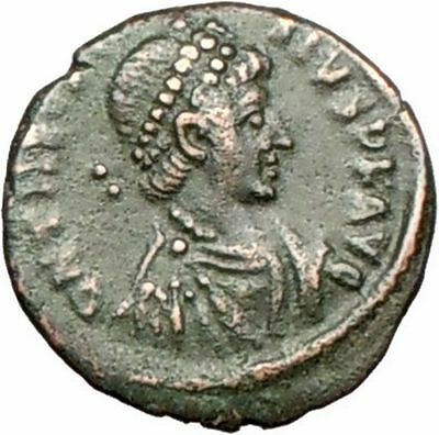 THEODOSIUS I 379AD Genuine Ancient Roman Coin Wreath  i28012