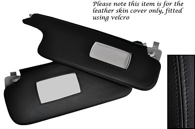Black Stitch Fits Renault Megane 2002-2008 2X Sun Visors Leather Covers Only