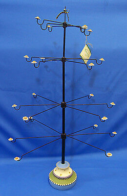 Williraye Ornament Tree Resin & Metal Flower Daisy Display 12 Rotating Arms Used