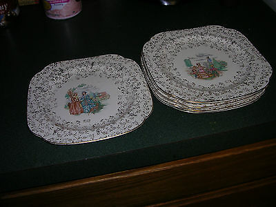 FIVE VINTAGE EDWIN KNOWLES SQUARE COLONIAL PLATES