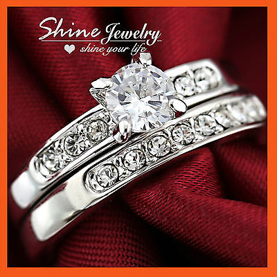 18K White Gold Gf R41 Wedding Diamonds Bridal Engagement Ladies Solid Rings Sets
