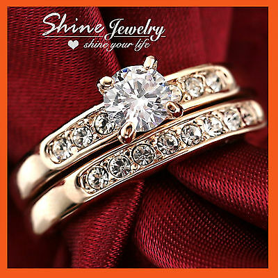 18K Rose Gold Filled R40 2Ct Solitaire Simulated Diamond Womens Wedding Ring Set