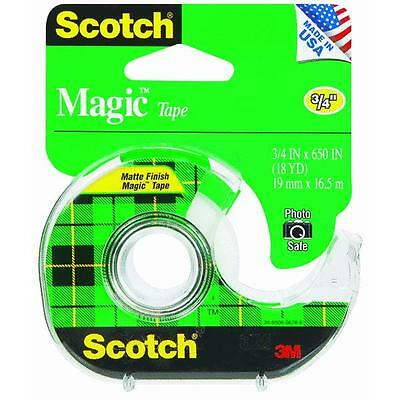 "144 Pk 3M 3/4"" X 650"" Scotch Magic Transparent Tape W/Dispenser 122"