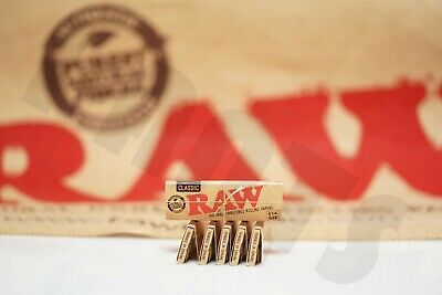 6 Packs Of Authentic Raw Rolling Paper Classic 1 1/4 Natural Unrefined