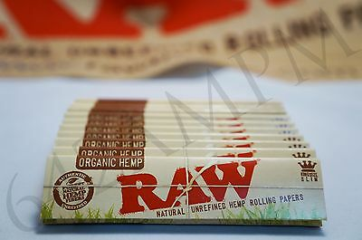 10 Packs Of Authentic Raw Natural Rolling Paper Organic Hemp King Size Slim