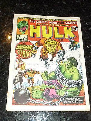 Mighty World of MARVEL Starring INCREDIBLE HULK Comic -  No 59 - Date 17/11/1973