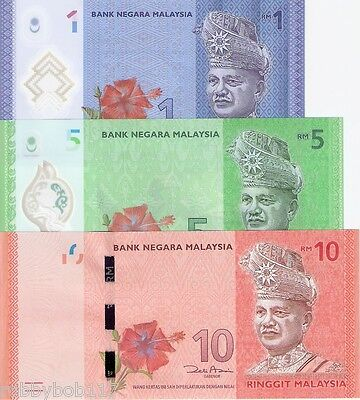 MALAYSIA 3 Note SET 1 2 5 Ringgit Banknote World Money Currency BILL Asia 2012