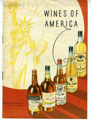 1934 Booklet Wines of America w/ 8 Pages Statue of Liberty Cover