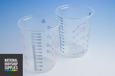 PAINT MIXING CUPS, PLASTIC 600cc MIXING CUPS WITH CALIBRATED MIXING RATIOS x 50