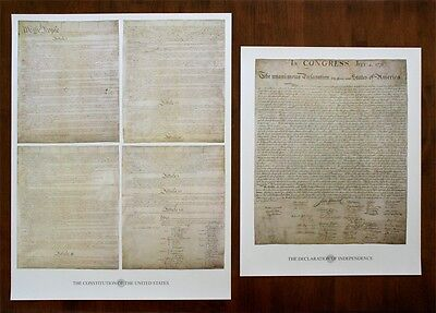 Declaration Of Independence & Us Constitution Founding Documents Print Set
