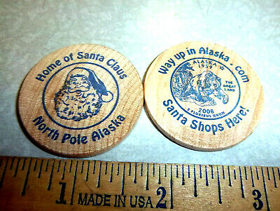 Wood Nickel from North Pole Alaska Home of Santa Claus w/ state quarter logo