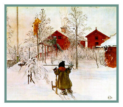 Scandinavian Carl Larsson Yard Wash House in Snow Counted Cross Stitch Pattern