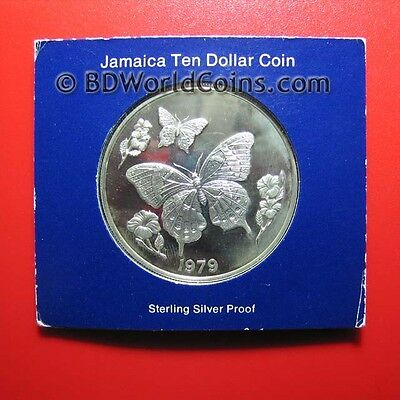 1979 JAMAICA $10 DOLLARS 1.27oz SILVER PROOF BUTTERFLY FLOWER MINT=8,308 COINS!