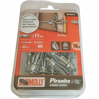 16 M5 Metal Plasterboard Fixing Anchor 36mm Plug & 43mm Screws for Cavity Wall