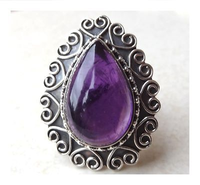 925 Sterling Silver FILIGREE Gemstone PURPLE AMETHYST RING SIZE R - 8 3/4
