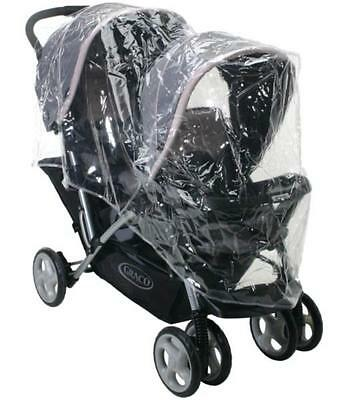 Br New Tandem Double Pram Universal Dust Insect Wind Rain Cover Protector Gifts