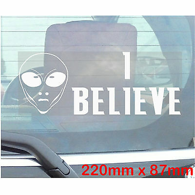 Powered By Alien Technology Funny Car Van Sticker UFO Outline Style