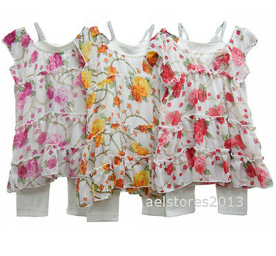Girls Party Summer 2/3pc Floral Dress Top with Leggings Set Age 4 6 8 10 12 year