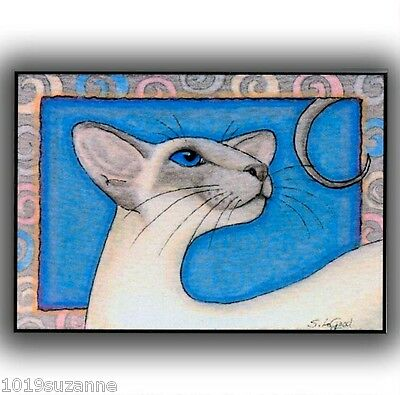 Ltd Ed Aceo Bluepoint Siamese Cat Painting Print From Original Suzanne Le Good