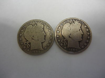 1905-S And 1906-D Barber Half Dollar Coins G (Nice)