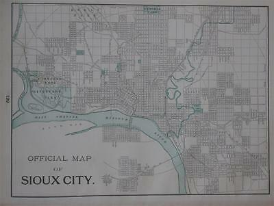 1898 Sioux City, SD Original  Atlas Map**  Council Bluffs on back... 121 Yrs-Old