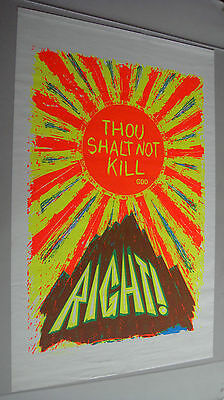 Vintage Anti-War Peace Poster Pin-Up Thou Shalt Not Kill God Right Black Light