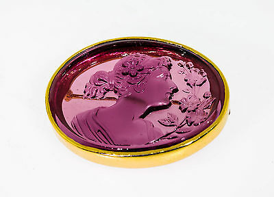 Antique Amethyst Glass CAMEO High Relief 14k Yellow Gold Brooch Pin RARE