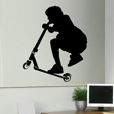 Extra Large Stunt Trick Scooter Child Bedroom Wall Art Sticker Transfer Decal