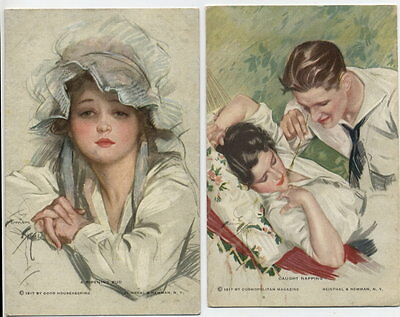 S2302 HARRISON FISHER NO 862 AND 868 RIPENING BUD CAUGHT NAPPING  2X POSTCARDS