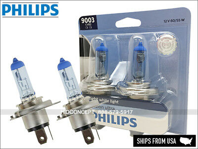 H4 PHILIPS 9003 HB2 Hi/Low 67/60W Crystal Vision Ultra HID LOOK Bulbs 9003CVB2