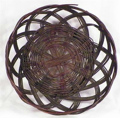 Antique Sewing Yarn Basket Wicker Brown & Red Victorian Open Weave AS IS COND