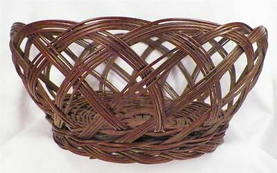 Antique Sewing Yarn Basket Brown Wicker Open Weave Late Victorian NICE COND