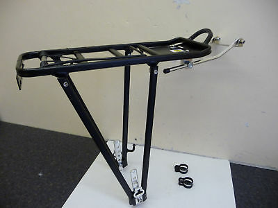ALLOY Cycle Rear Pannier Rack Carrier with Sprung Clip NEW BLACK