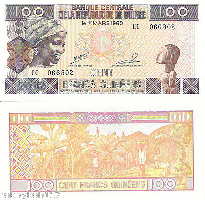 GUINEA 100 Francs Banknote World Paper Currency Money Pick p35b Note BILL UNC