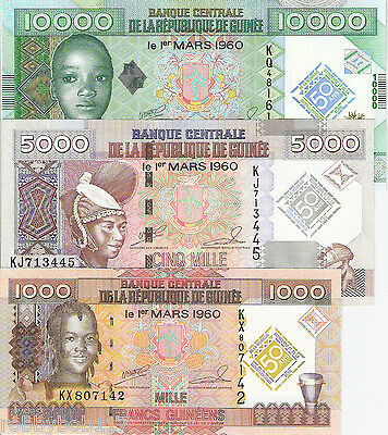 SET 3 Notes GUINEA Francs Banknote World Currency Money BILL Africa 2010 p43-45
