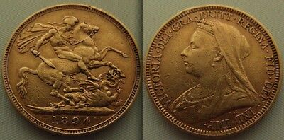 Collectable Gold full Sovereign 1894 coin Queen Victoria. Sydney Mint, old Head