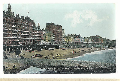 Brighton Hotels and Beach From West Pier  Postmarked 1910  Postcard 5293