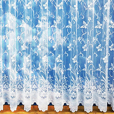 White Lace Effect Butterfly Net Curtains,Assorted Drops,Sold By The Metre.