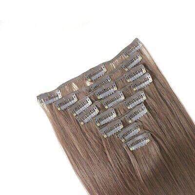 Clip in Hair Extensions STRAIGHT Chocolate Brown #8 FULL HEAD