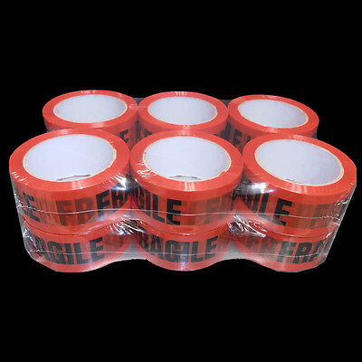 12x FRAGILE Sticky Packing Tape 48mm x 75m Meter Black on Red 45 micron