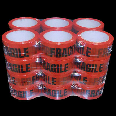 24 Rolls FRAGILE Sticky Packing Tape 75 Meter x48mm Black on Red High Quality