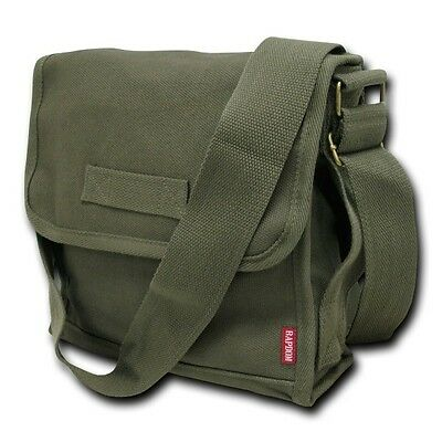 Olive Green Military Messenger Canvas Shoulder Vintage Army Tote Field Bag Bags