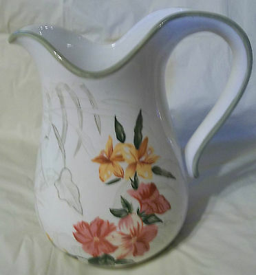 """Waverly Pitcher Garden Room """"Colombia"""" 9"""" Tall 6"""" Base Green RedPink Yellow GUC"""