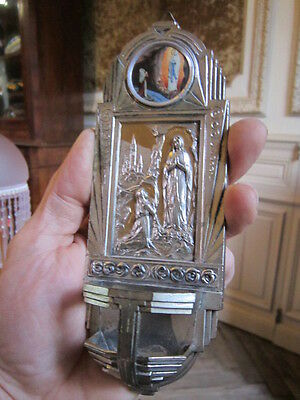 Ancien benitier stoup  christianisme religion art deco vierge apparition