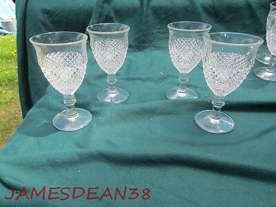 4 Westmoreland ENGLISH HOBNAIL CLEAR (ROUND BASE) WATER STEMS GLASSES TUMBLERS